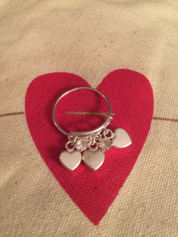 Silver Plated Expandable Wire Ring with Tiny Hearts