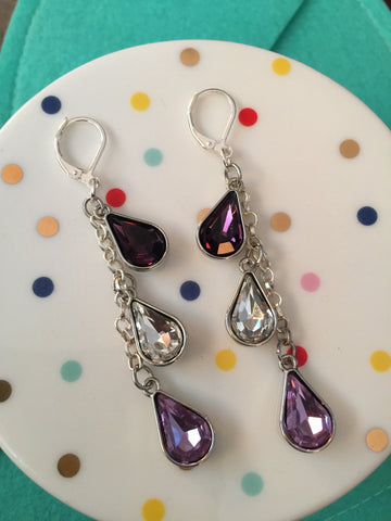 Shades of Lavender Crystal Earrings