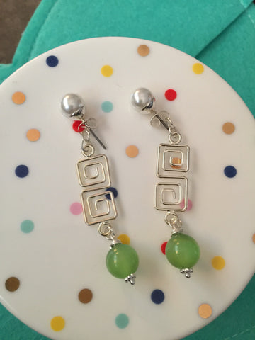 Spring Dangle Earrings and Chain Mail Bracelet Set