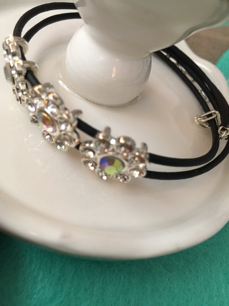 Elegant Beaded Memory Wire Bracelet With Rubber Tubing