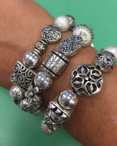 Mixed Silver Plated Stretch Bracelets