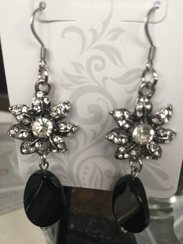 Crystal & Black Chandelier Bridal Earrings