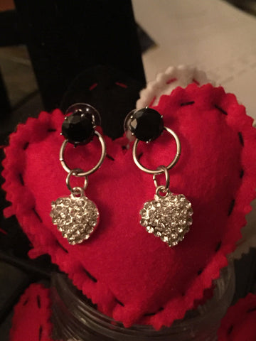 Black Cubic Zirconia Rhinestone Heart Earrings