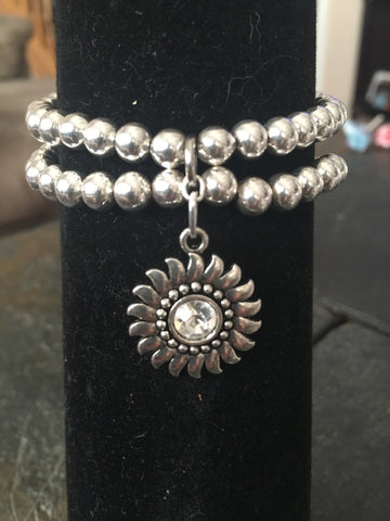 Sunburst Crystal Charm Stretch Bracelet