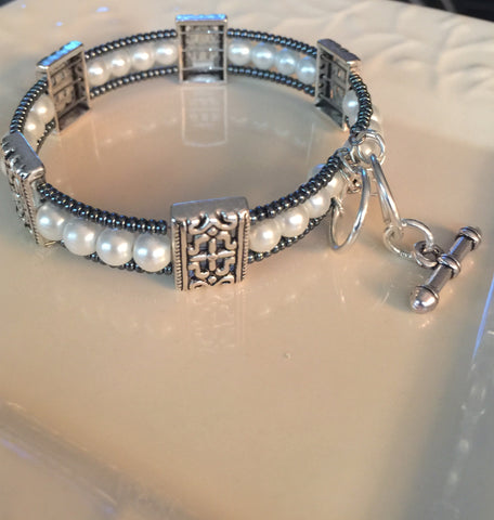 Silver Plated Elegant Memory Wire Bracelet
