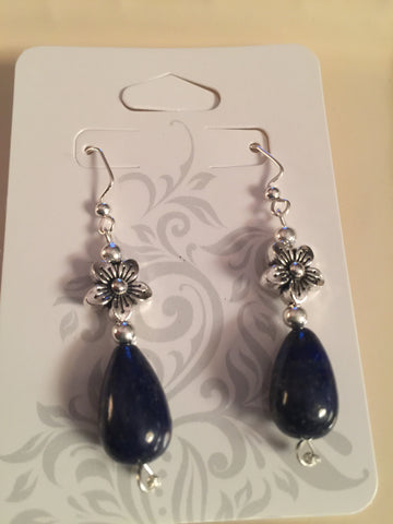 Dark Blue Lapis Bead Drop Earrings
