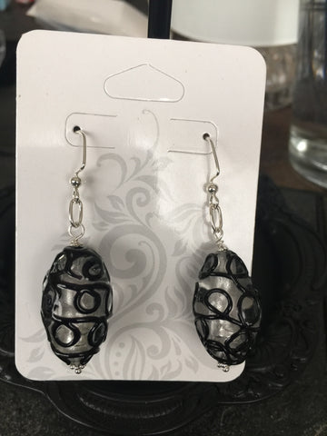Black Glass Drop Earring Set