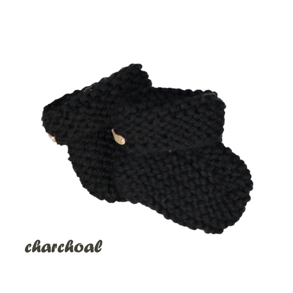 CHUBBY hand knitted booties - charcoal