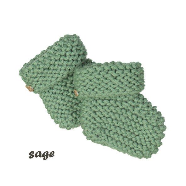 CHUBBY hand knitted booties - sage