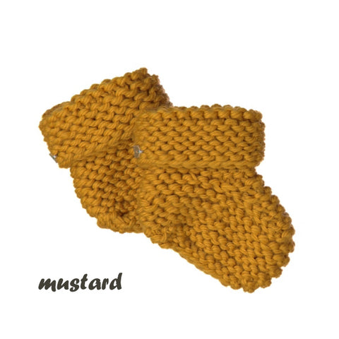 CHUBBY hand knitted booties - mustard