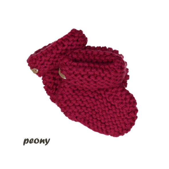 CHUBBY hand knitted booties - peony