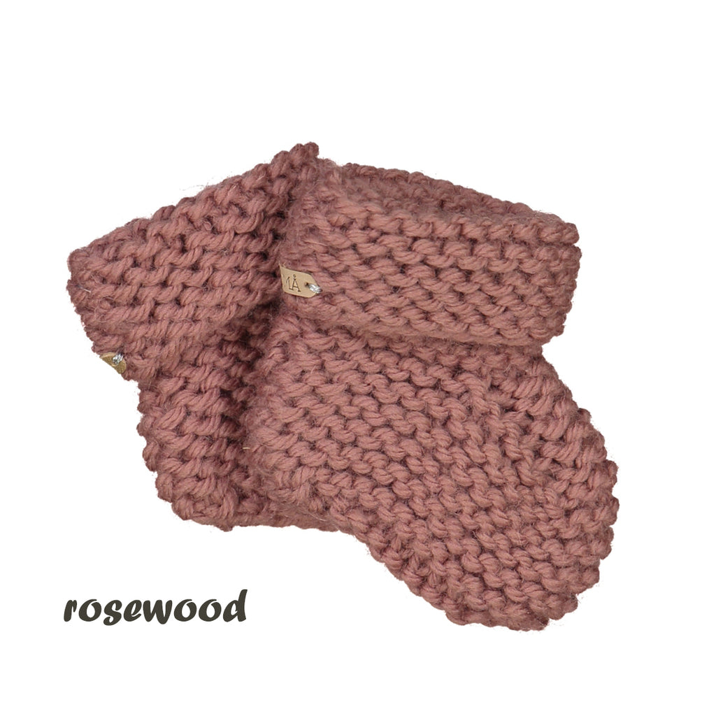 CHUBBY hand knitted booties - rosewood