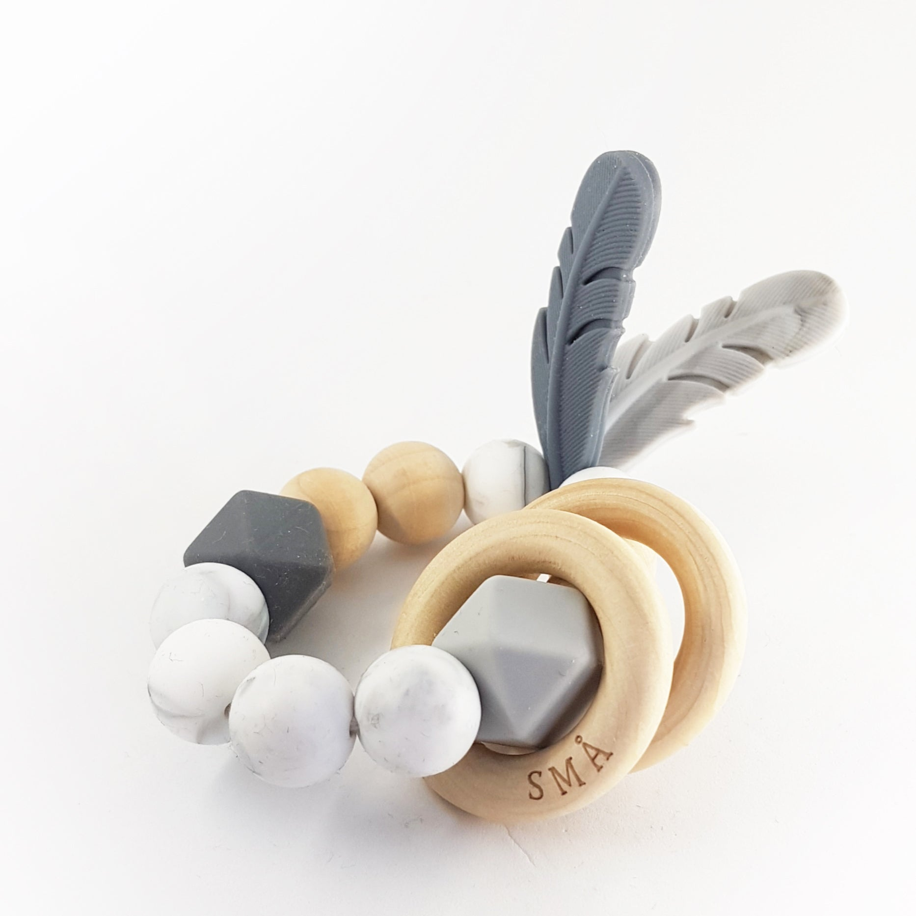FEATHER teether, marble grey