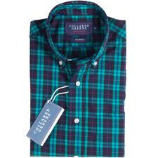 Collard Greens The Wolfe Navy/Teal Button Down Shirt
