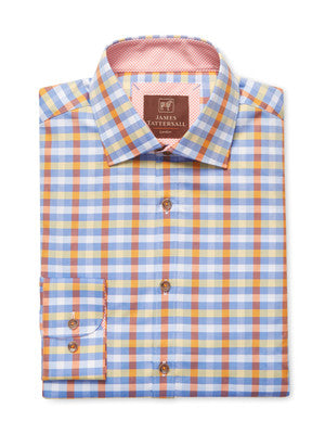 James Tattersall Hartford Orange Dress Shirt