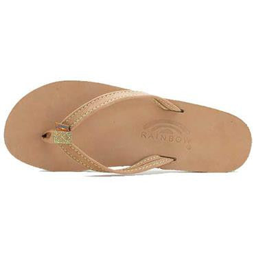 The Tropics -Women's Single Layer Premier Leather Flip Flop with Colorful Midsole and a Narrow Strap