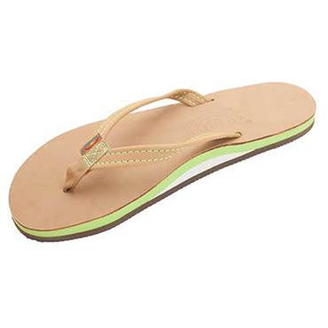 Product Image: The Tropics -Women's Single Layer Premier Leather Flip Flop with Colorful Midsole and a Narrow Strap