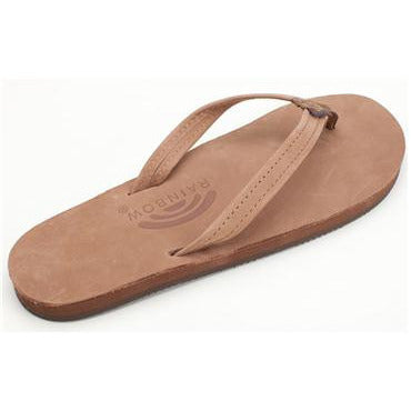 Women's Single Layer Premier Leather Flip Flop with Arch Support and a Narrow Strap in Dark Brown