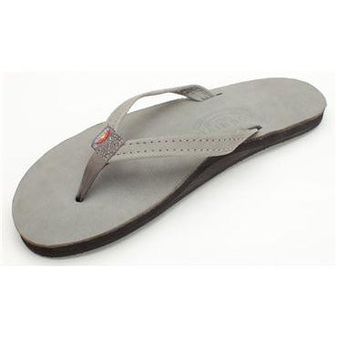 Women's Grey Premier Leather Single Layer Narrow Strap