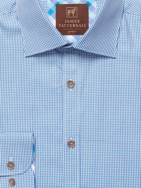James Tattersall Blue Covent Dress Shirt