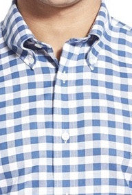 Cotton Brothers Large Blue Gingham Sport Shirt