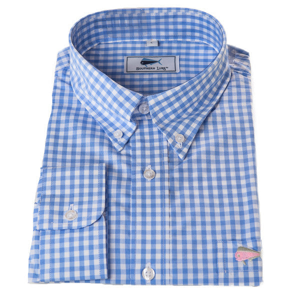 Light Blue Gingham Sport Shirt size Small