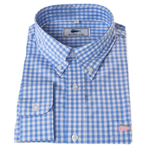 Product Image: Light Blue Gingham Sport Shirt size Small