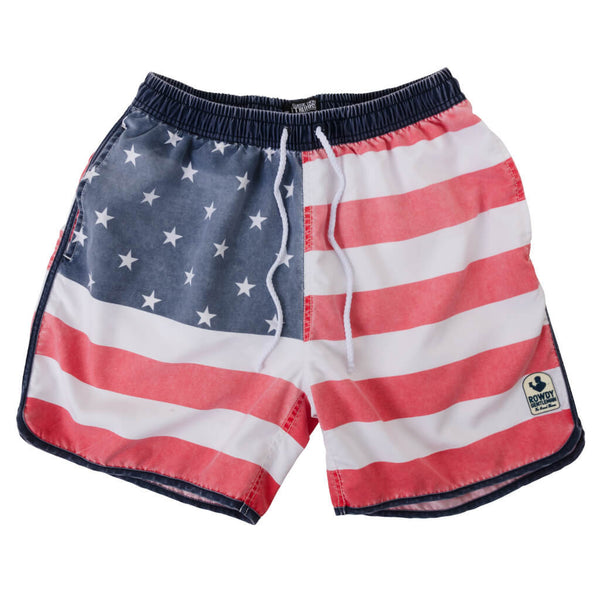 Faded American Flag Swim Trunks