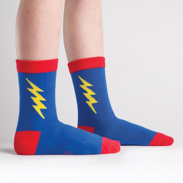 Super Hero Blue & Red Junior and Youth Crew Socks