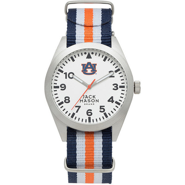 AUBURN TIGERS MEN'S STRIPED NATO STRAP WATCH