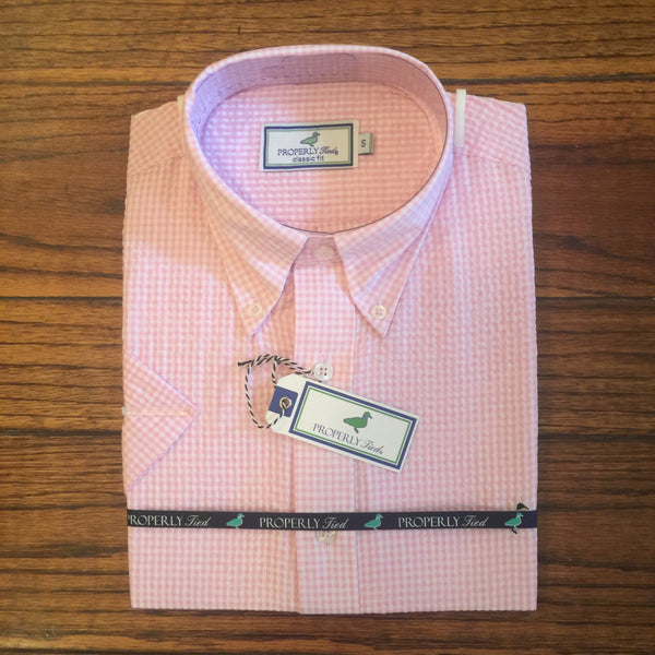 Properly Tied Pink Seersucker Short Sleeve