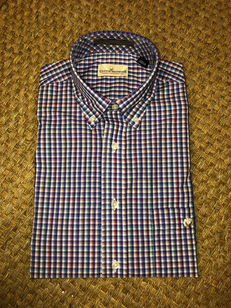 Cotton Brothers Purple Marina Check Sport Shirt