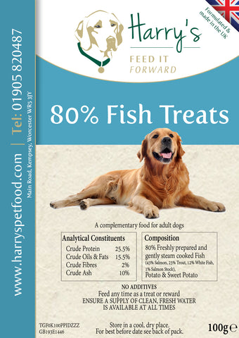 80% fish treats - all natural - 4 x 100g for £10 including p and p