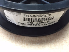 "033-2000-00 BAD BOY Plastic Idler Pulley- MZ Models 42"", 48"", & 54"" decks.  Replaced by 033-7201-00."