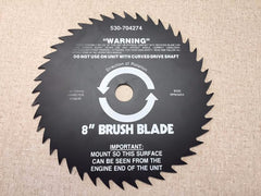 "530-704274 Weed Eater 8"" Brush Blade 530704274.  Center Hole .787""(20mm) 8500 RPM Max for straight shaft trimmers."