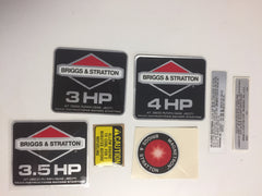 491082 Decal Kit, Briggs and Stratton NOS Vintage Engine Stickers 3HP, 3.5HP, 4HP