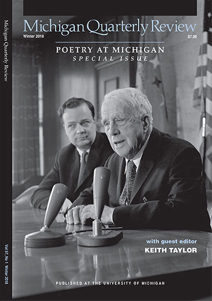 Robert Frost & Donald Hall at Press Conference on Campus, March 1962, University of Michigan News & Information Services Photographs, Bentley Historical Library, University of Michigan