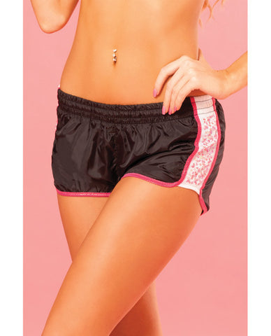 Pink Lipstick Sweat Sequin Running Short w/Built in Panty & Draw String Closure