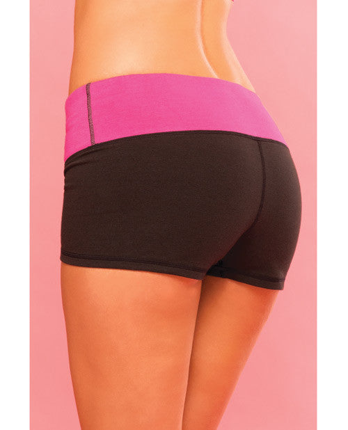 Pink Lipstick Sweat Yoga Short Thick Reversible for Support & Compression with Secret Pocket