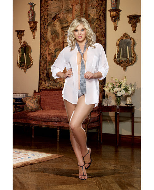Oversized Men's Chiffon Shirt with Neck Tie and Thong