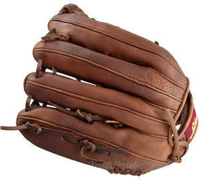 "Back view of a 12.5"" Modified Trap baseball glove"