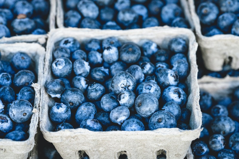 Cardboard punnet of fresh blueberries