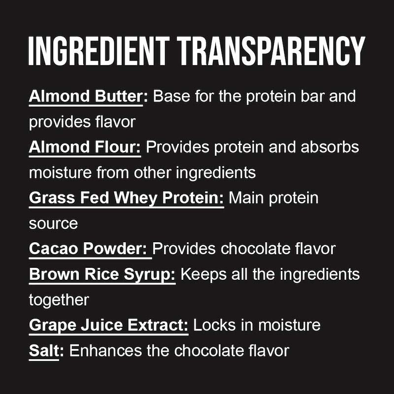 Chocolate Almond Naked Bar ingredient list