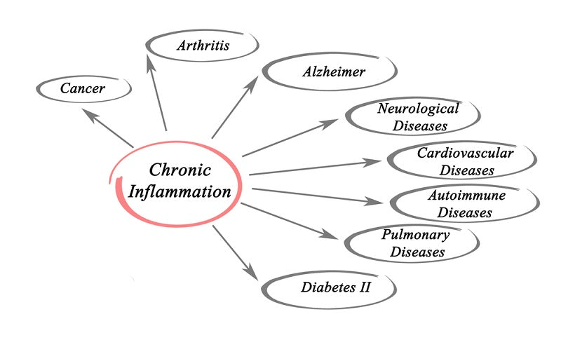 Graphic showing the health problem links to chronic inflammation