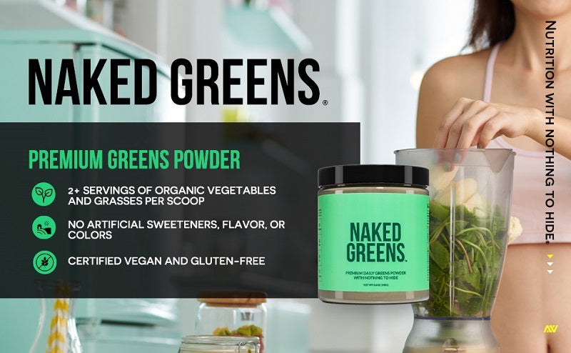 Naked Greens product graphic showing a tub of Naked Greens and product information