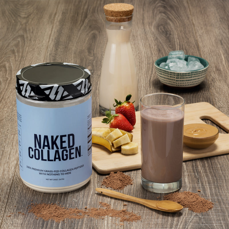 Naked Collagen tub next to a protein shake