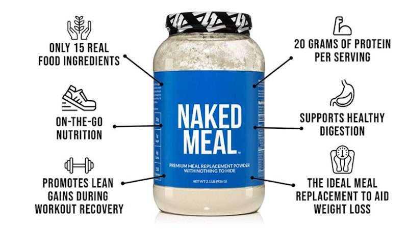 Naked Meal product graphic, showing the benefits of the product