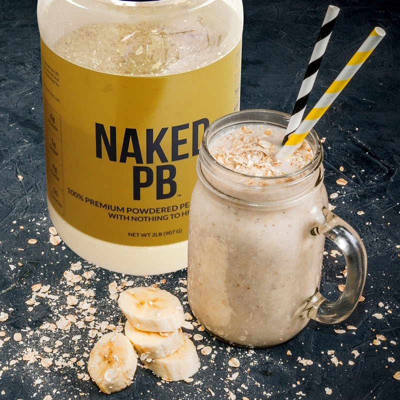 Naked PB product image with a tub of Naked PB next to a peanut butter shake