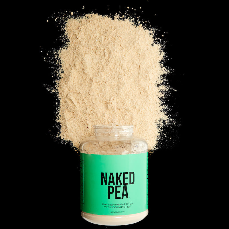 Naked Pea product image with a tub of Unflavored Naked Pea on it's side with loose pea protein powder around it