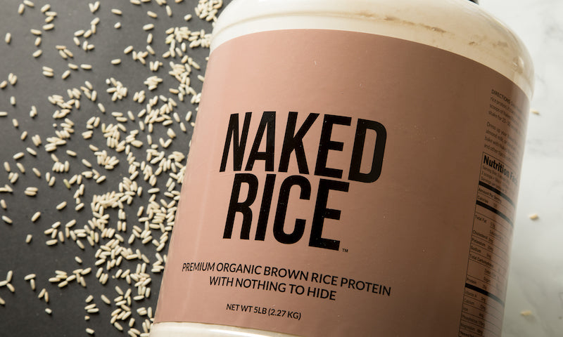 Product image of Naked Rice against a white and black background